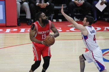 James Harden going to work against the Los Angeles Clippers. Photo by Jevone Moore/News4usonline.com