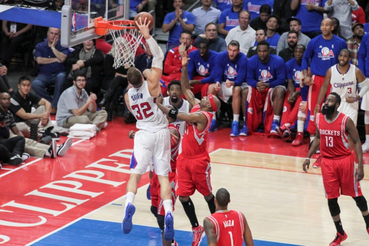 Los Angeles Clippers star Blake Griffin with the power move against the Houston Rockets. Photo by Jevone Moore/News4usonline.com