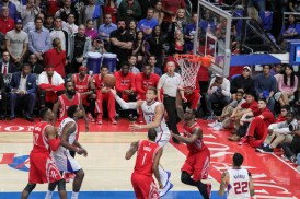 Blake Griffin goes for the acrobatic moves by Blake Griffin. Photo by Jevone Moore/News4usonline.com
