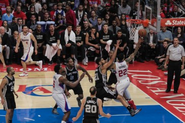 Matt Barnes (22) goes to the basket for a layup against the San Antonio Spurs in Game 7. Photo Credit: Jevone Moore/News4usonline.com