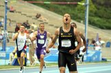 Oregon's Marcus Chambers is stoked after winning the men's 400 meters race. Chambers clocked in at 45. 21 seconds. Photo by Dennis J. Freeman/News4usonline.com