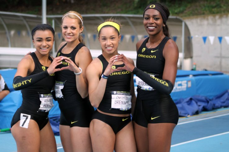 Oregon's Ashante Horsley, Annie LeBlance, Christian Brennan and Raevyn Rogers are all smiles after securing the Ducks team victory in the Pac-12 Championships. Photo by Dennis J. Freeman/News4usonline.com