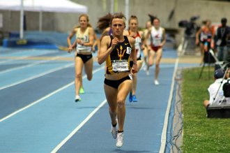 Arizona State distance runner Shelby Houlihan finishes the 1, 500 meters in winning form. Photo by Dennis J. Freeman/News4usonline.com