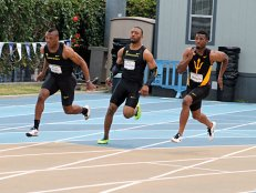 Oregon gets the lead in the 4x100 relay race. The Ducks finished second in the race to USC with a posted time of 40.14 seconds. Photo by Dennis J. Freeman/News4usonline.com