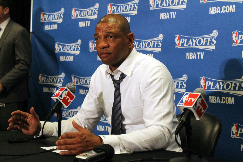 Clippers coach Doc Rivers speaks to reporters after Game 3. The Clippers defeated the Houston Rockets 124-99 in Game 3 of the NBA Western Conference second series. Photo Credit: Dennis J. Freeman/News4usonline.com