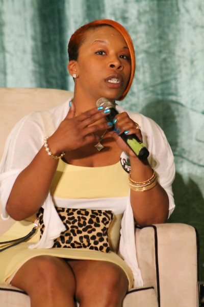 """Lesley McSpadden. mother of Michael Brown, speaks at the """"Black Mothers Standing in the Gap"""" event that was co-sponsored by Congresswoman Maxine Waters and the Black Women's Forum on Saturday, May 30, 2015. Photo by Dennis J. Freeman/News4usonline.com"""