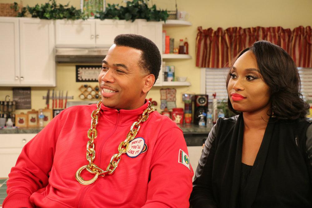"Omar Gooding Jr. with Angela Cornwell on the set of BounceTV's sitcom ""Family Time."""