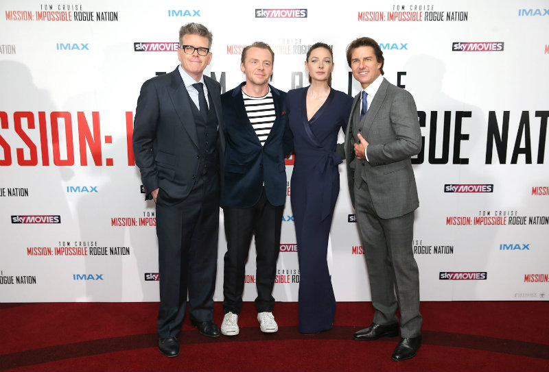 LONDON, ENGLAND - JULY 25: (EDITORS NOTE: This image has been digitally manipulated) Director Christopher McQuarrie, Simon Pegg, Rebecca Ferguson and Tom Cruise attend the UK Fan Screening of 'Mission: Impossible - Rogue Nation' at the IMAX Waterloo on July 25, 2015 in London, United Kingdom. (Photo by Mike Marsland/Getty Images for Paramount Pictures) *** Local Caption *** Christopher McQuarrie; Simon Pegg; Rebecca Ferguson; Tom Cruise