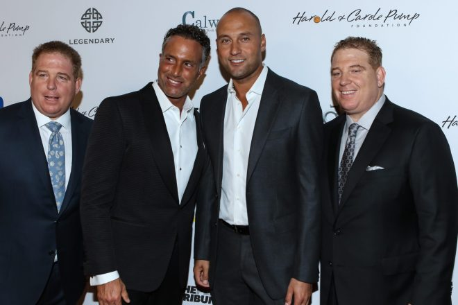 Derek Jeter, Phillip Esformes with David & Dana Pump. Photo by Jevone Moore