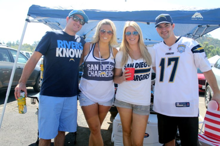 Quarterback Philip Rivers is well-represented by these Chargers fans. Photo by Dennis J. Freeman/News4usonline.com