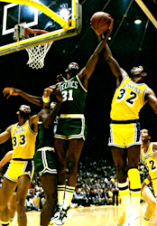 Boston Celtics Cedric Maxwell vs Los Angles Lakers Magic Johnson with Kareem Abdul-Jabbar and Jamal Wilkes in the 1985 NBA Finals. Photo Credit: Steve Lipofsky/Basketballphoto.com