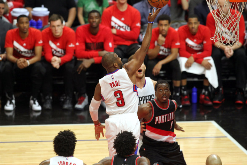 Chris Paul to the basket in Game 1 against the Portland Trailblazers. Photo by Kevin Reece/News4usonline.com