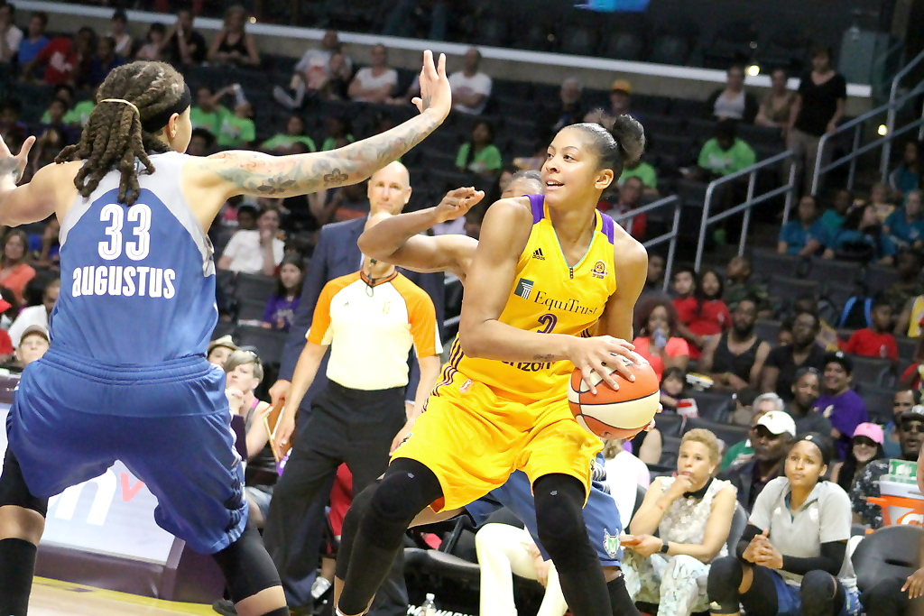 The Sparks' Candace Parker was held to nine points against the Minnesota Lynx during the two team's anticipated matchup at Staples Center. Photo by Dennis J. Freeman/News4usonline