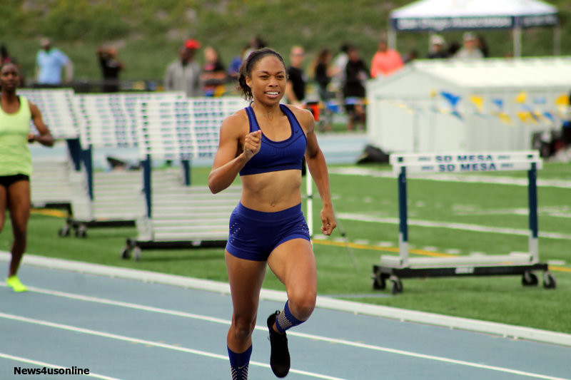 Allyson Felix crosses the finish line in the women's 400 with a winning time of 51.23 seconds at the USATF San Diego/Imperial County Last Qualifier Track and Field Meet on Saturday, June 11, 2016. Photo by Dennis J. Freeman/News4usonline.com