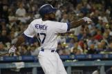 The Dodgers Howie Kendrick connects for a base hit against the Chicago Cubs Friday, Aug. 26, 2016. Photo by Dennis J. Freeman/News4usonline
