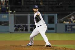 Los Angeles Dodgers pitcher Bud Norris had a groove going early against the Chicago Cubs, whiffing six batters in five innings of work. Photo by Dennis J. Freeman/News4usonline
