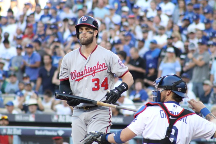 Washington Nationals slugger Bryce Harper engaged in an epic battle against Clyton Kershaw in Game 4. Photo by Dennis J. Freeman/News4usonline.com