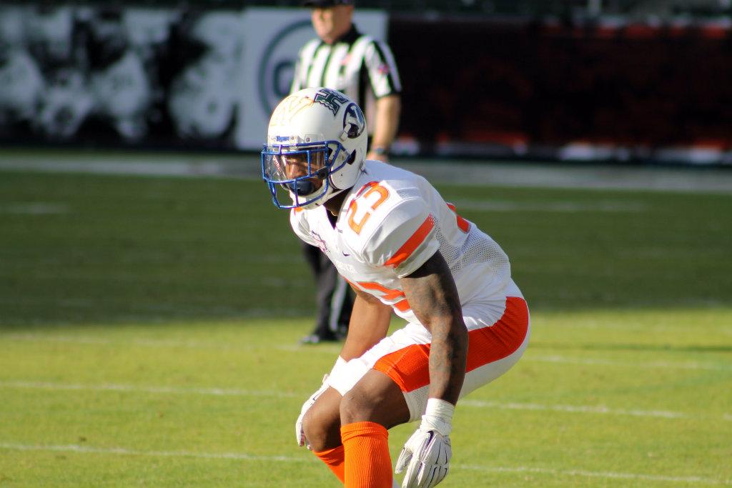 "a0c6ceadd32 Memphis cornerback Arthur Maulet (23) puts his game face on during the  NFLPA Collegiate Bowl. Photo by Dennis J. Freeman News4usonline.com. """
