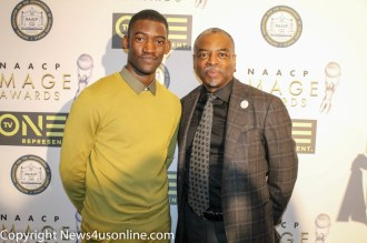 The young Kunta Kinte (Malachi Kirby) and the orginal Roots star LeVar Burton (right) on the red carpet at the NAACP Image Awards Nominees Luncheon. Photo by Dennis J. Freeman/News4usonline.com