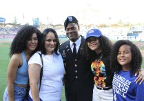 Besides saluting and honoring Don Newcombe, Maury Wills and Frank Robinson, the Los Angeles Dodgers also paid homage to the military. Photo by Astrud Reed for News4usonline