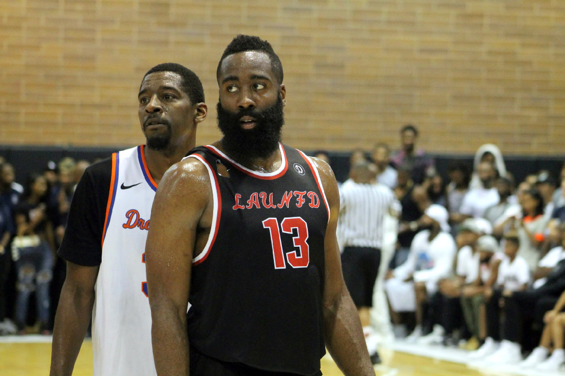 daaf75561714 Houston Rockets star James Harden scored 27 points to lead LAUNFD to a  83-81 victory over the Home Town Favorites. Photo by Dennis J.  Freeman News4usonline