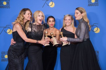 """For Best Television Limited Series or Motion Picture Made for Television, the Golden Globe is awarded to """"Big Little Lies"""" (HBO). Laura Dern, Nicole Kidman, Zoe Kravitz, Reese Witherspoon, and Shailene Woodley pose with the award backstage in the press room at the 75th Annual Golden Globe Awards at the Beverly Hilton in Beverly Hills, CA on Sunday, January 7, 2018."""