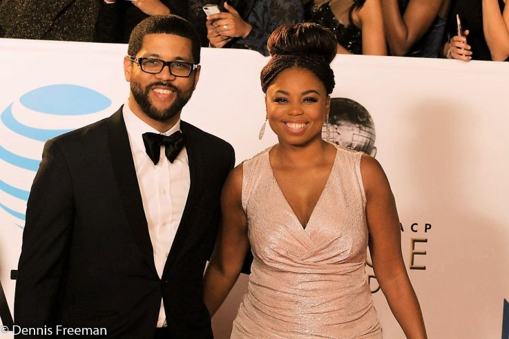 """Michael Smith and Jemele Hill, co-hosts of ESPN's """"The Six"""" show their glamour side at the 49th Annual NAACP Image Awards on Monday, Jan. 15, 2018. Photo by Dennis J. Freeman"""