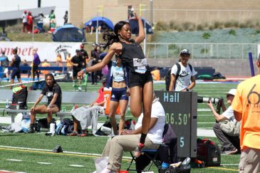 Je'Nia Sears floats through the air in the women's invitational long jump during the 2018 Mt. SAC Relays. Sears finished eight with a jump of 20 feet, 8 inches. Photo by Dennis J. Freeman for News4usonline