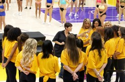 Los Angeles Lakers Director of Game Operations/Entertainment Lisa Estrada at the center of the 2018-2019 Laker Girls audition. Photo by Astrud Reed for News4usonline