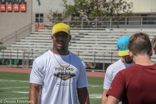 Several hundred youths attended the 2018 Hayes Pullard Football Camp in South Los Angeles. Pullard, currently a linebacker for the Los Angeles Chargers, attended nearby Crenshaw High School and Southern California (USC) as a collegiate athlete. NFL stars Adoree Jackson (Tennessee Titans) and Marqise Lee (Jacksonville Jaguars) came out to support Pullard. Photo by Dennis J. Freeman for News4usonline
