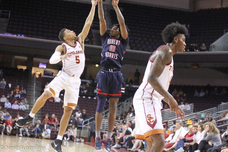 college basketball game between USC and Robert Morris