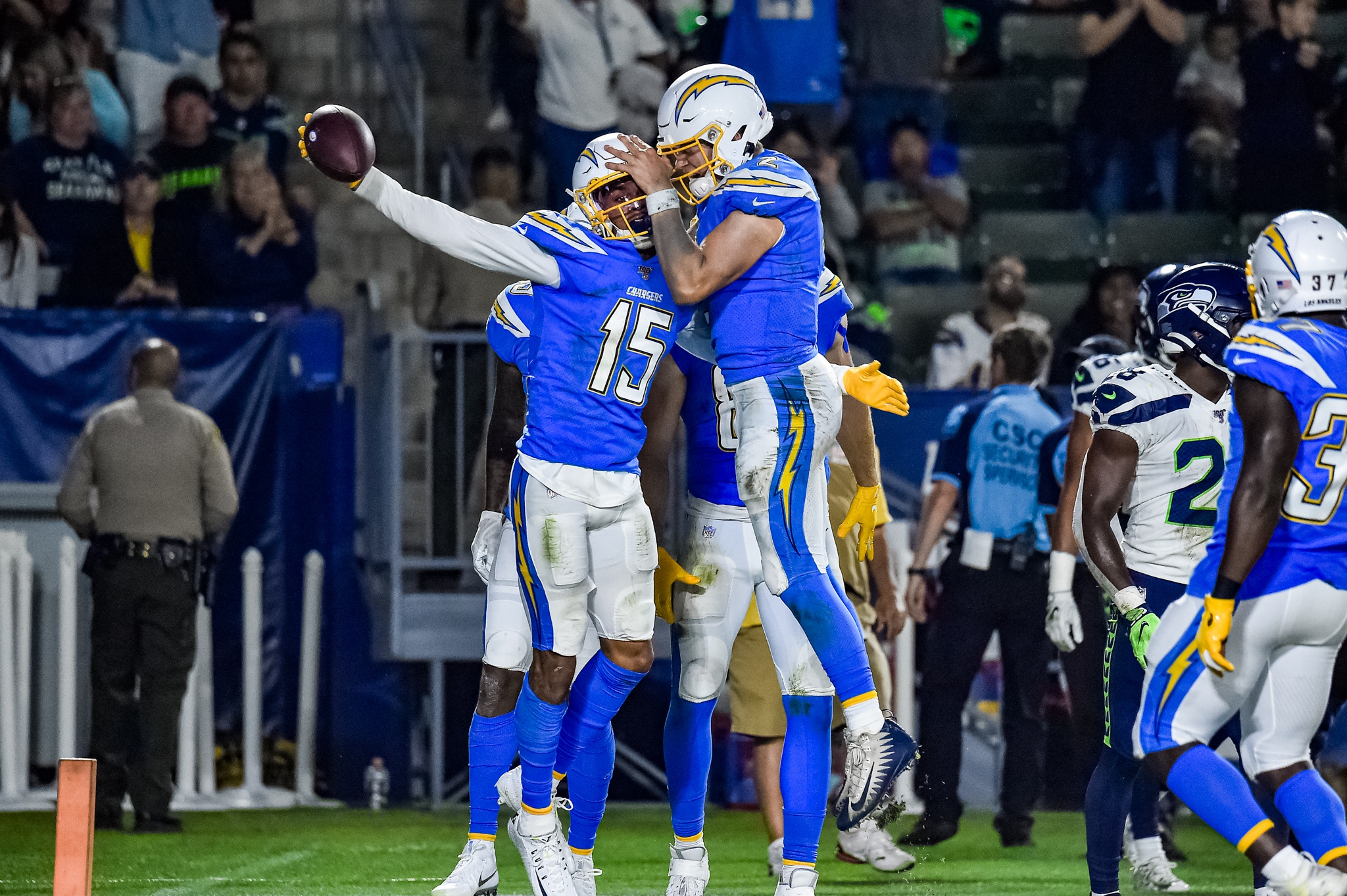 © Mark Hammond/News4usonline - Aug. 24, 2019 - Seahawks vs. Chargers - Chargers wide receiver Andre Patton (15) celebrate his eight-yard touchdown grab.
