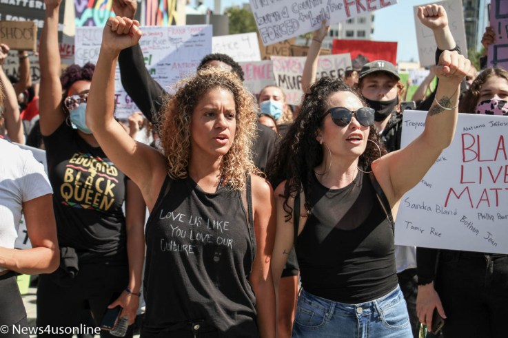 A united front: Black Lives Matter (Los Angeles) holds a march and rally in downtown Long Beach, California on Sunday, May, 31, 2020. The protest was held to bring attention to police violence in the wake of the death of George Floyd, who died in police custody. Thousands of demonstrators showed up for the event. Photo credit: Dennis J. Freeman/News4usonline