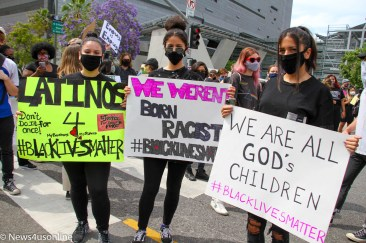 Making their voices heard: Demonstrators show up at a march and rally in downtown Los Angeles, California. The protest on June 2, 2020, was sparked by the May 25, 2020 killing of George Floyd by a Minneapolis, MInnesota police officer. Floyd, a 46-year-old Black man, was killed on the streets on Minnesota. Floyd's death would spark months of protests across the country as well as internationally. In the wake of Floyd's murder as well as the death of Breonna Taylor and other Black Americanss at the hands of law enforcement, police reform beame a rallying call to action by many people. Photo credit: Dennis J. Freeman/News4usonline