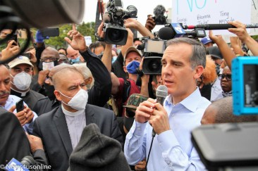 Los Angeles Mayor Eric Garcetti attend a march and rally in downtown Los Angeles, California on June 2, 2020. Garcetti spoke to protesters at a rally led by the Baptist Ministers Conference. Members of the Baptist Ministers Conference came out to protest police brutality and show solidarity behind a Black Lives Matter movement to hold police and law enforcement agencies more accountable for their actions. Demonstrators came out to also protest the death of George Floyd, a 46-year-old Minneapolis man who died in police custody on May 25, 2020. Photo credit: Dennis J. Freeman/News4usonline