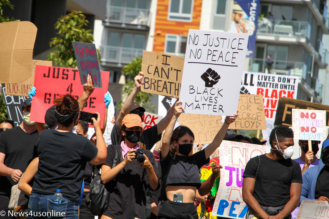 The Los Angeles chapter of Black Lives Matter bring the noise to Long Beach, California, to protest of George Floyd, a 46-year-old black man who died in police custody. Global protests in the wake of Floyd's death lasted for two weeks. Photo by Dennis J. Freeman