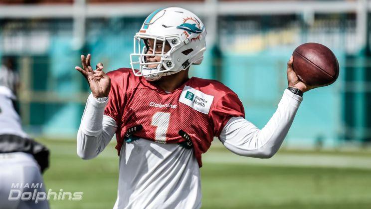 Miami Dolphins quarterback Tua Tagovailoa in practice