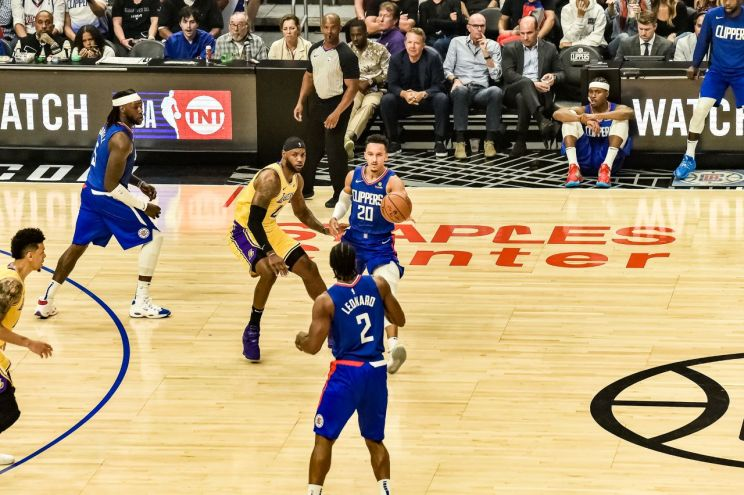 Guard Landry Shamet (20) was traded from the Los Angeles Clippers to the Brooklyn Nets during the 2020 NBA Draft. Photo by Mark Hammond for News4usonline
