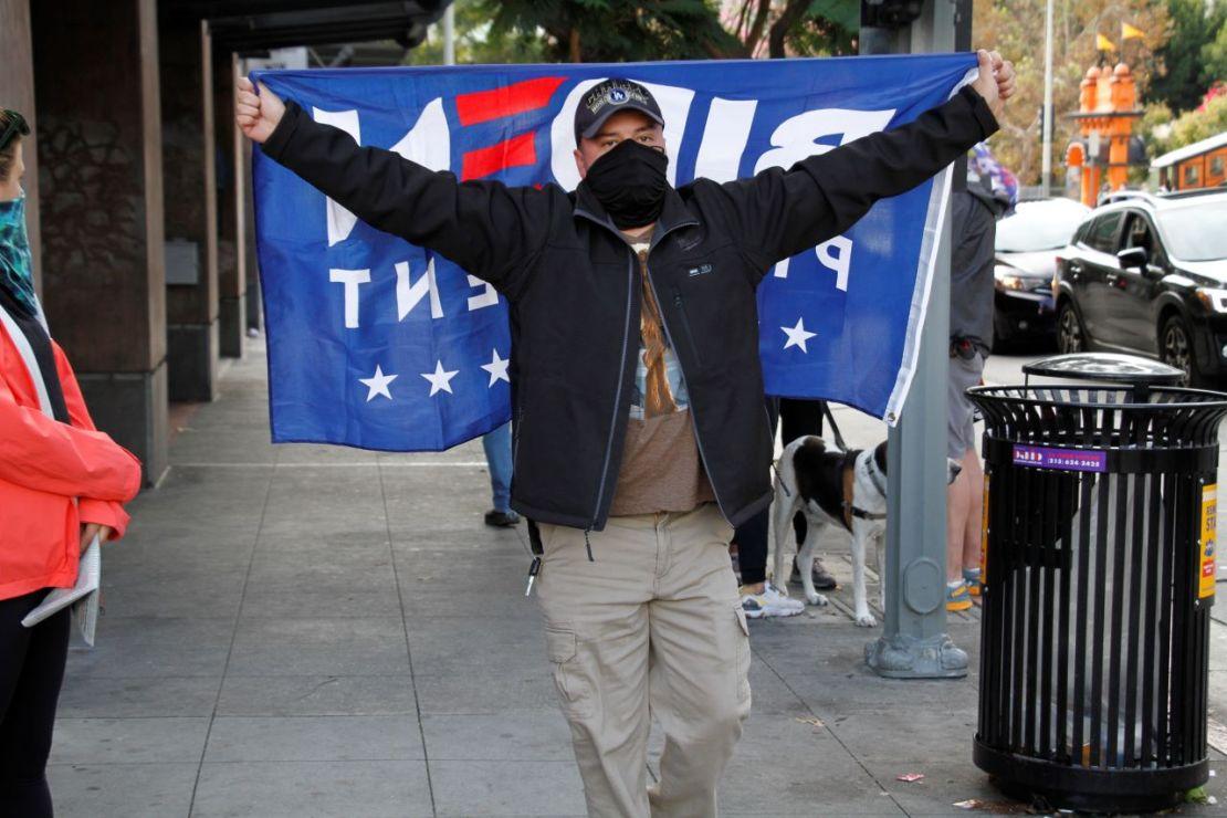 Joe Biden supporter celebrate in downtown Los Angeles