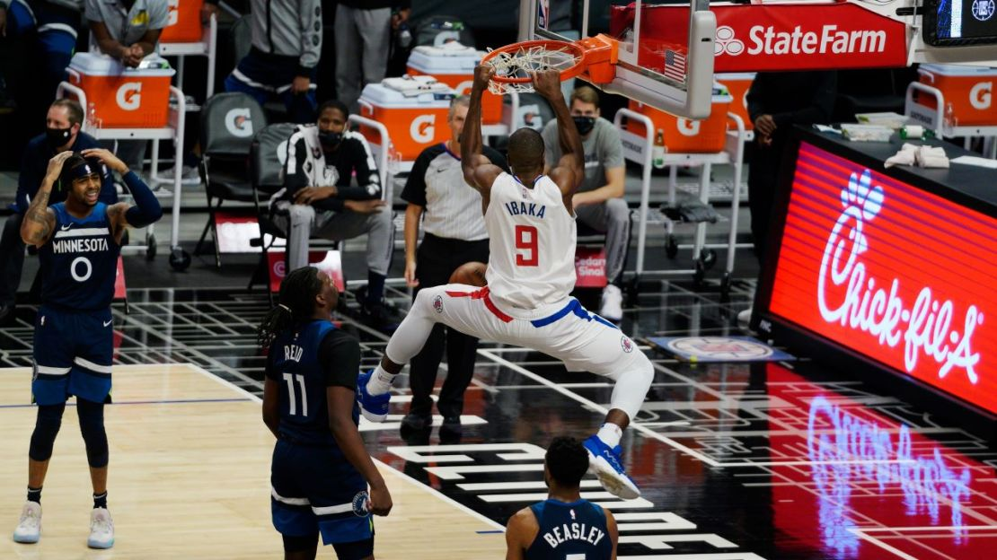 Los Angeles Clippers center Serge Ibaka (9) throws it down for two points against the Minnesota Timberwolves on Wednesday, Dec. 29, 2020. The Clippers defeated the Timberwolves, 124-101 at STAPLES Center. Photo by Melinda Meijer for News4usonline