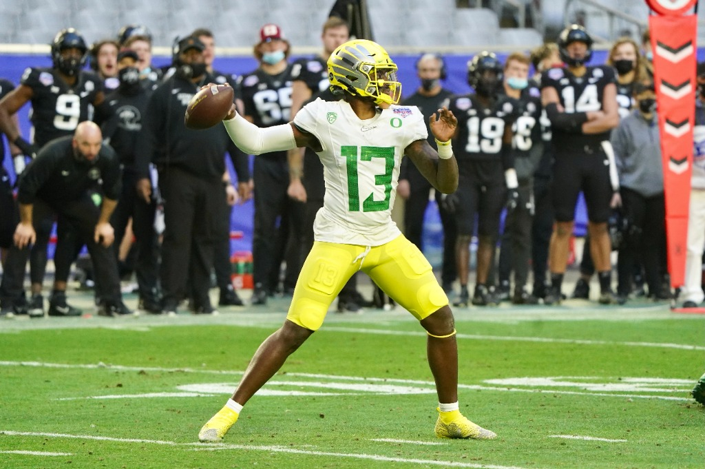 Oregon quarterback Anthony Brown (13) completed 12 of 19 passes for 147 yards in the Ducks' 34-17 defeat to the Iowa Cyclones in the 2021 PlayStation Fiesta Bowl. Courtesy photo