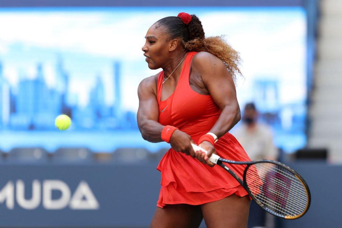 September 5, 2020 - Serena Williams in action against Sloane Stephens during a women's singles match at the 2020 US Open. (Photo by Simon Bruty/USTA)