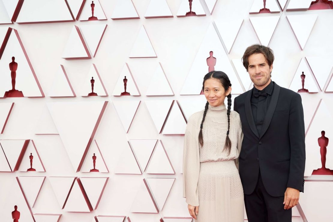 Oscar® nominees Chloé Zhao and Joshua James Richards arrive on the red carpet of The 93rd Oscars® at Union Station in Los Angeles, CA on Sunday, April 25, 2021. Credit: Matt Petit / A.M.P.A.S.