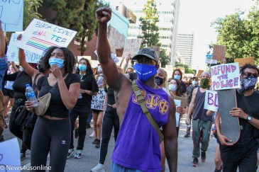 For months, millions of demonstrators marched and protested the killing of George Floyd, a 46-year-old Black man, who died in police custody on May 25, 2020. The scene here is downtown Los Angeles, California on June 3, 2020, where protesters walk the streets. Photo credit: Dennis J. Freeman/News4usonline
