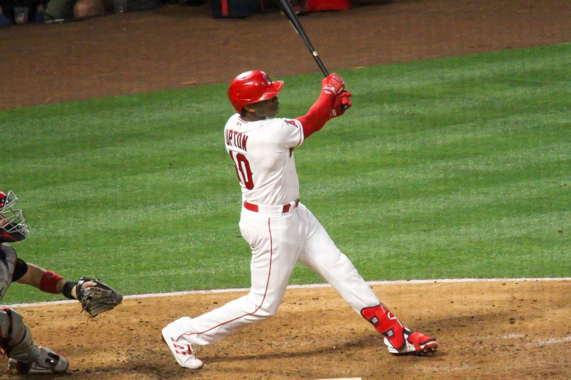 Los Angeles Angels outfielder Justin Upton goes yard with a three-run home run against the Cleveland Indians on May 18, 2021. Photo credit: Dennis J. Freeman/News4usonline