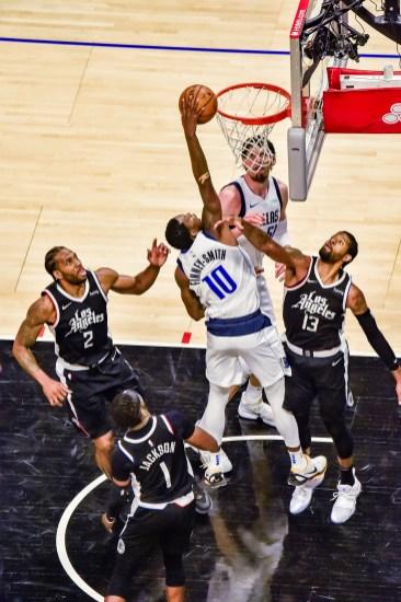 June 6, 2021-Tim Hardaway Jr. (11) with the thunder dunk. Photo credit: Mark Hammond/News4usonline