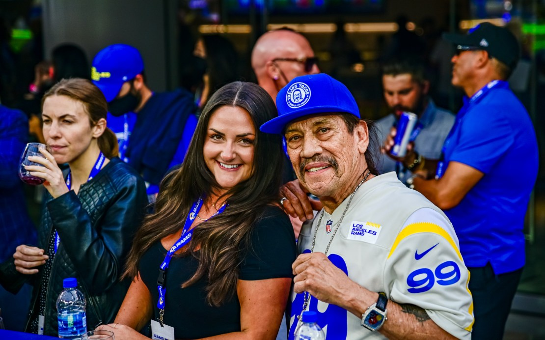 June 10, 2021-Actor Danny Trejo and friend at the minicamp practice of the Los Angeles Rams at SoFi Stadium. Photo credit: Mark Hammond/News4usonline