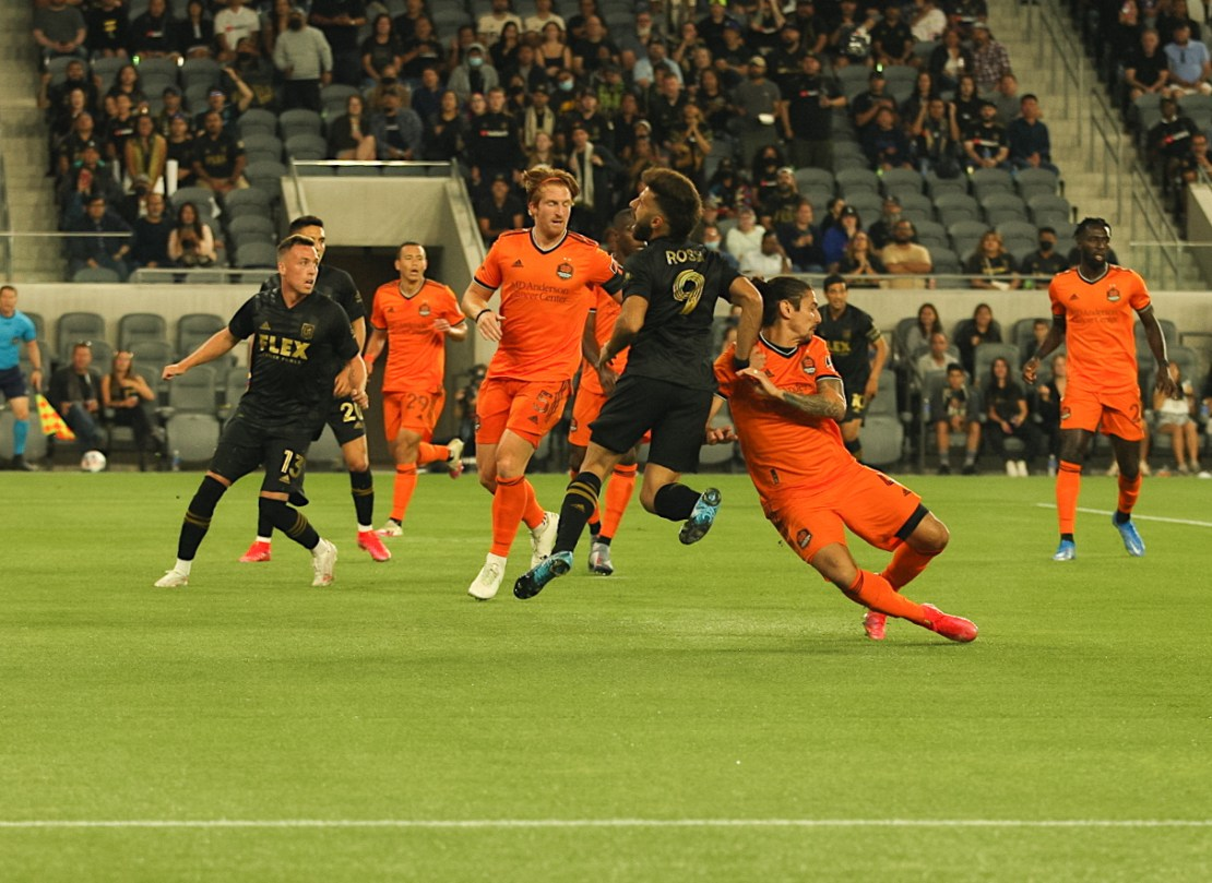 June19, 2021-Diego Rossi (9) of the Los Angeles Football Club in action against the Houston Dynamo. LAFC and Houston played to a 1-1 tie. Photo credit: Astrud Reed/News4usonline