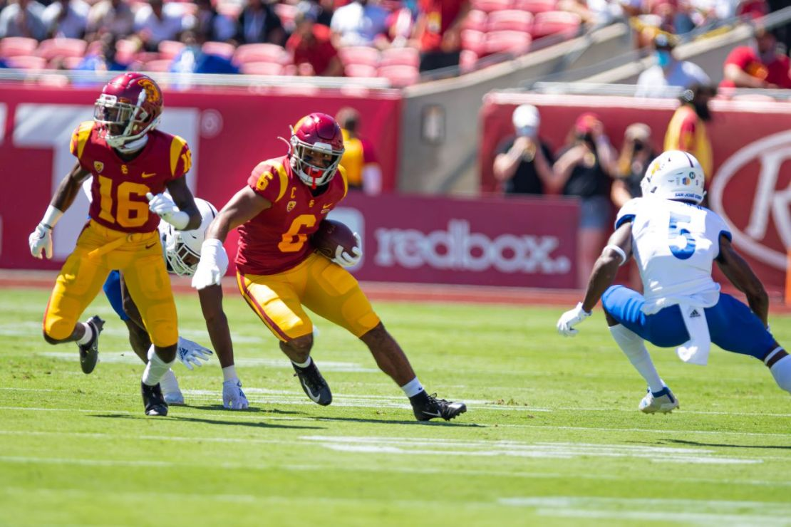 Sept. 4, 2021. USC running back Vavae Malepeai (6) carries the football against San Jose State. Malepeai rushed for 72 yards in the Trojans' 30-7 win against San Jose State at the Los Angeles Memorial Stadium. Photo credit: Sammy Saludo for News4usonline