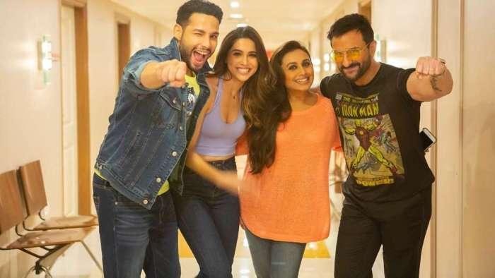 Saif Ali Khan, Rani Mukerji, Siddhant Chaturvedi strike a pose as they wrap 'Bunty Aur Babli 2' with fun song